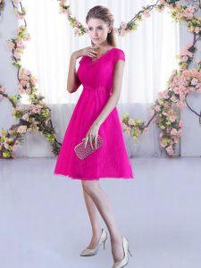 Hot Pink V-neck Neckline Lace Bridesmaids Dress Cap Sleeves Lace Up