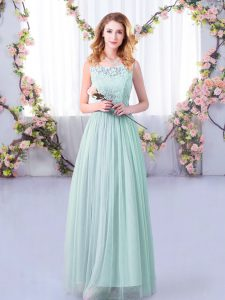 Modern Empire Wedding Party Dress Light Blue Scoop Tulle Sleeveless Floor Length Side Zipper