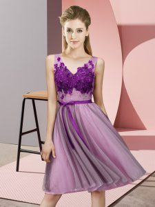 Enchanting Knee Length Empire Sleeveless Lilac Bridesmaid Gown Lace Up