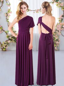 Glittering Floor Length Dark Purple Bridesmaid Dresses One Shoulder Sleeveless Criss Cross