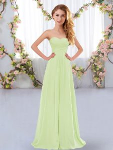 Floor Length Lace Up Bridesmaid Dresses Yellow Green for Wedding Party with Ruching