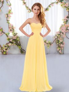Deluxe Gold Lace Up Bridesmaid Gown Ruching Sleeveless Floor Length