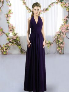 Flare Floor Length Dark Purple Bridesmaid Dresses Chiffon Sleeveless Ruching