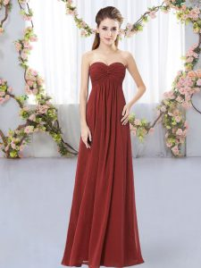 Enchanting Floor Length Rust Red Bridesmaid Gown Sweetheart Sleeveless Zipper