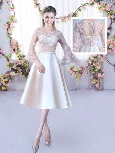 Beautiful Champagne Wedding Party Dress Wedding Party with Lace and Belt Scoop 3 4 Length Sleeve Lace Up
