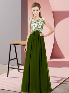 Pretty Empire Wedding Party Dress Olive Green Scoop Chiffon Sleeveless Floor Length Zipper