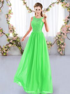 Admirable Floor Length Zipper Bridesmaid Dress for Wedding Party with Lace
