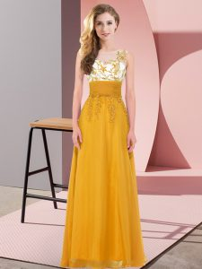 Simple Gold Chiffon Backless Scoop Sleeveless Floor Length Bridesmaid Dresses Appliques