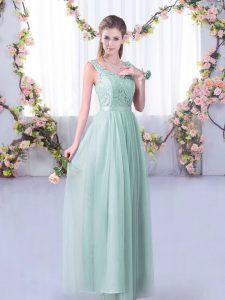 Fantastic Empire Wedding Guest Dresses Light Blue V-neck Tulle Sleeveless Floor Length Side Zipper