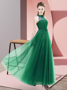 Dark Green Empire Tulle Halter Top Sleeveless Beading and Appliques Floor Length Lace Up Wedding Party Dress