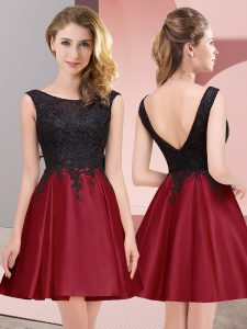 High End Wine Red Satin Zipper Wedding Party Dress Sleeveless Mini Length Lace
