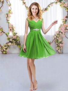 Zipper Bridesmaid Gown Belt Sleeveless Mini Length