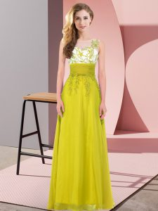 Spectacular Scoop Sleeveless Chiffon Bridesmaid Dress Appliques Backless