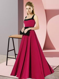 Square Sleeveless Zipper Bridesmaid Dresses Fuchsia Chiffon