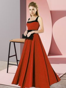 Pretty Square Sleeveless Zipper Bridesmaid Dresses Rust Red Chiffon
