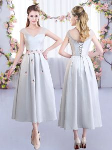 Designer Silver Cap Sleeves Appliques Tea Length Bridesmaid Dresses