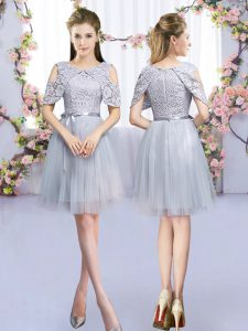 Smart Grey Empire Scoop Sleeveless Tulle Mini Length Zipper Lace and Belt Bridesmaid Gown