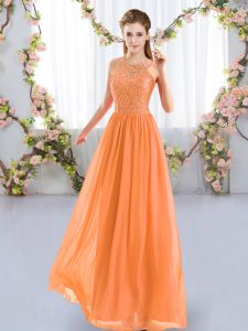 Affordable Scoop Sleeveless Zipper Wedding Party Dress Orange Chiffon