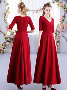 Modest Wine Red Empire V-neck Half Sleeves Satin Ankle Length Zipper Ruching Bridesmaid Dress