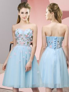 Affordable Knee Length Light Blue Wedding Party Dress Tulle Sleeveless Appliques