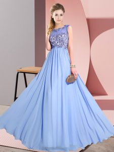 Suitable Sleeveless Chiffon Floor Length Backless Bridesmaid Gown in Lavender with Beading and Appliques