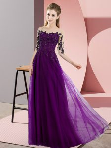 Eye-catching Dark Purple Empire Chiffon Bateau Half Sleeves Beading and Lace Floor Length Lace Up Bridesmaid Dresses