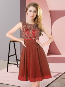 Rust Red Chiffon Backless Scoop Sleeveless Mini Length Bridesmaid Dress Beading and Appliques
