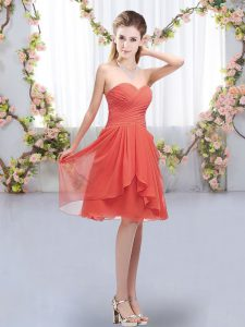 Admirable Coral Red Lace Up Sweetheart Ruffles and Ruching Bridesmaid Dresses Chiffon Sleeveless