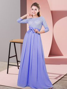 Fashionable Lavender Empire Chiffon Scoop 3 4 Length Sleeve Lace and Belt Floor Length Side Zipper Wedding Guest Dresses