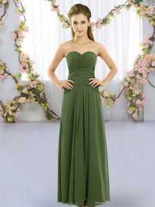 Deluxe Sweetheart Sleeveless Lace Up Bridesmaid Dresses Dark Green Chiffon