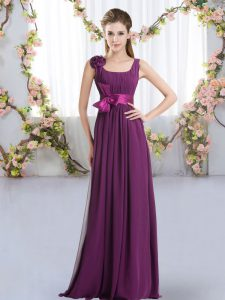 Attractive Chiffon Straps Sleeveless Zipper Belt and Hand Made Flower Bridesmaid Dress in Dark Purple