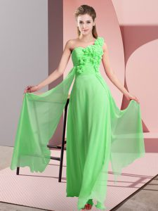 Empire One Shoulder Sleeveless Chiffon Floor Length Lace Up Hand Made Flower Bridesmaid Gown