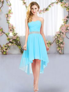 New Style Aqua Blue Empire Sweetheart Sleeveless Chiffon High Low Lace Up Belt Bridesmaid Gown