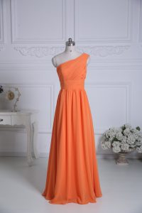 Spectacular Floor Length Orange Wedding Party Dress One Shoulder Sleeveless Zipper