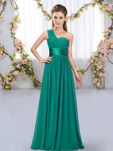 Peacock Green Chiffon Lace Up Bridesmaids Dress Sleeveless Floor Length Belt