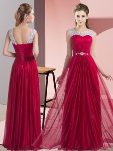 Gorgeous Scoop Sleeveless Chiffon Wedding Guest Dresses Beading and Belt Lace Up