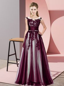 Dark Purple Empire Beading and Lace Bridesmaids Dress Zipper Tulle Sleeveless Floor Length