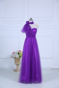 Eggplant Purple Bridesmaid Dress Wedding Party with Ruching Halter Top Sleeveless Zipper