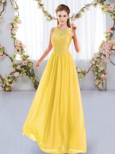 Gold Sleeveless Lace Floor Length Wedding Party Dress