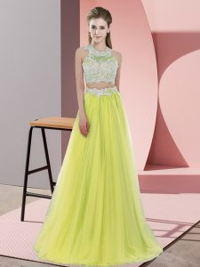 Halter Top Sleeveless Wedding Guest Dresses Floor Length Lace Yellow Tulle