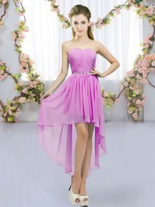 Enchanting Sleeveless High Low Beading Lace Up Bridesmaid Gown with Lilac