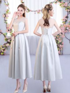 Luxurious Silver Bridesmaid Dress Wedding Party with Appliques Scoop Sleeveless Lace Up