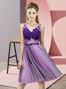 Attractive Lavender Sleeveless Knee Length Appliques Lace Up Wedding Guest Dresses