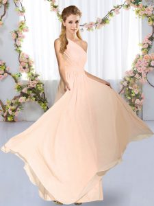 Stylish Peach Wedding Guest Dresses Wedding Party with Ruching One Shoulder Sleeveless Lace Up