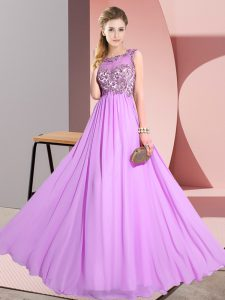 Lilac Empire Scoop Sleeveless Chiffon Floor Length Backless Beading and Appliques Bridesmaid Gown