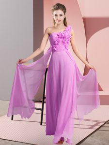 Captivating Floor Length Lilac Wedding Guest Dresses One Shoulder Sleeveless Lace Up