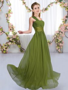 Ideal Sleeveless Chiffon Floor Length Lace Up Bridesmaids Dress in Olive Green with Ruching
