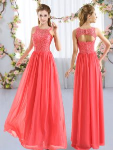 Great Floor Length Zipper Bridesmaid Dresses Coral Red for Wedding Party with Lace