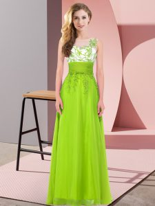 Floor Length Empire Sleeveless Yellow Green Bridesmaid Gown Backless