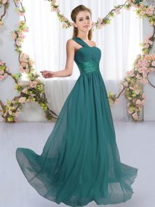 Hot Sale One Shoulder Sleeveless Chiffon Bridesmaid Dress Ruching Lace Up